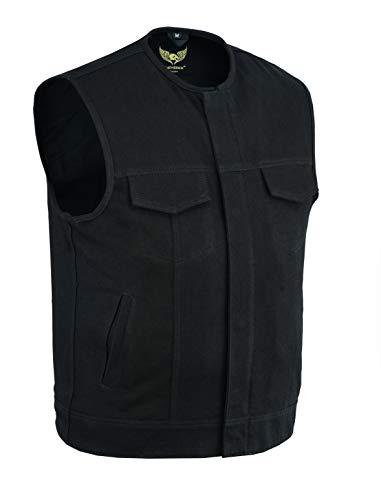 Leatherick Chaleco estilo motero sin cuello de mezclilla pesado con ribete de cuero para hombre con bolsillos profundos, estilo SOA