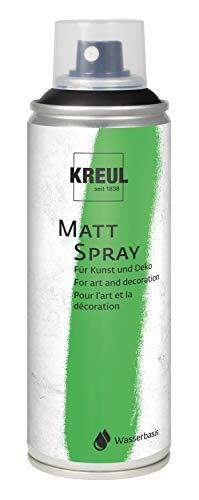 Kreul 76327 - Farbspray, klassisch matte Sprühfarbe auf Wasserbasis, hochpigmentiert und wasserfest, styropofest, für Innen und Außen, 200 ml, schwarz