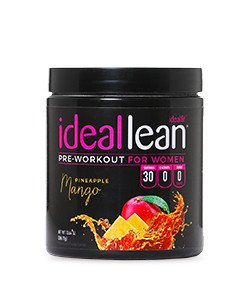 IdealLean, Best Pre Workout for Women - Energy Boost, Increase Training Intensity, Mental Focus, Results, Beta-Alanine, Low Calorie & Healthy, 30 - Servings (Pineapple Mango)