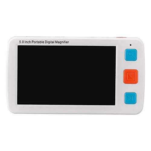 Saiko Videoingranditore Digitale Portatile Lente di ingrandimento per ipovedenti da 5.0 pollici, Ausilio Visivo per lettura 17 diverse modalità colore, 4X-32X, 2500ml Batteria (Bianco)
