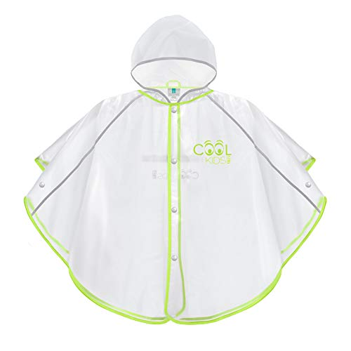 PERLETTI Regenponcho für Kinder Jungen Mädchen - Weiche Regenjacke Gelb Grün Transparent mit Reflektorenbänder - Regencape Wasserdicht mit Kapuze und Knöpfe - Cool Kids (3/6 Jahren, Lingrün Lime)