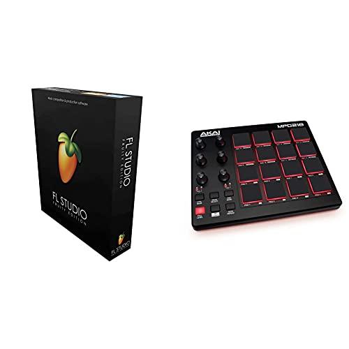 Image Line FL STUDIO 20 Fruity Edition. & AKAI Professional MPD218 - Portabler 16-Pad-USB/MIDI-Pad-Controller Mit MPC-Pads, zuweisbaren Reglern, Tasten für Notenwiederholung, Produktionssoftware