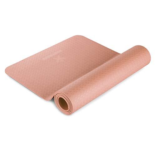 BODYMATE Yogamatte Premium TPE Rose-Gold - Größe 183x61cm – Dicke 6mm – Schadstoffgeprüft frei von Phthalaten, BPA, Schwermetallen – Trainings-Matte für Fitness, Yoga, Pilates, Functional