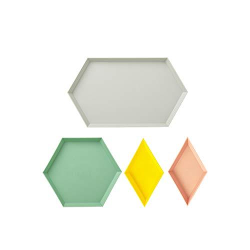 TOPBATHY 4pcs alimentos de almacenamiento apilable escritorio organizador pantalla decorativa geométrica de la joyería bandeja de plástico bandeja de servir