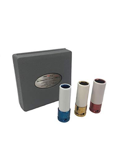 Kraft Schoneinsatz Steckschlüssel Satz 3 teilig 1/2 – 17-19-21mm Schlagschrauber Radmutter Stecknusssatz Stecknüsse für eine sichere Felgen Demontage und Montage (3 teilig)