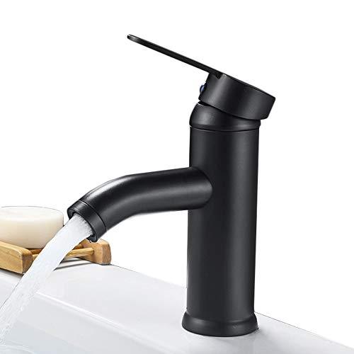 Bagno Rubinetto miscelatore monoleva,per lavabo,Nero,acciaio inossidabile