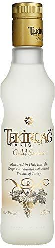 TEKIRDAG RAKISI GOLD – IN EICHENFÄSSERN GELAGERTER 100%IGER TRAUBEN-RAKI – 1x0,35l Raki mit 45% vol. - Hergestellt in der Türkei