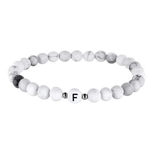 Perlenarmband mit Buchstaben von A-Z, silberne Zwischenperlen, matt weiß, Freundschaftsarmband, Pärchenarmband, Howlith Naturstein, Perlenkette, Damen, Herren, Kinder (Buchstabe F)