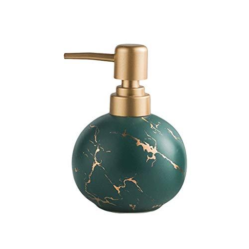 YINGZI Recargable Dispensador de Jabón de Cerámica Simple Baño Embotellado Baño Aseo Champú Ducha Loción de Gel De Prensa Decoración de Botellas 300ml Dispensador de Baño (Color : Green)