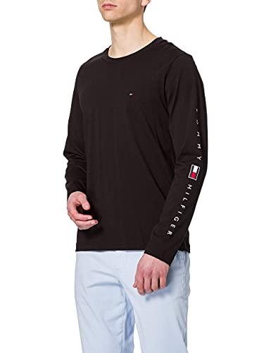 Tommy Hilfiger Essential Tommy LS Tee T-Shirt, Nero, L Uomo