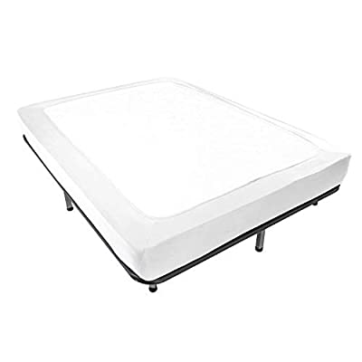 Box Spring Cover Queen Size - Jersey Knit & Stretchy Wrap Around 4 Sides Bed Skirt for Hotel & Home - Queen/Cal Queen, White by ALYVIA SPRING