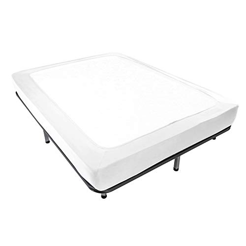 Box Spring Cover Twin Size - Jersey Knit & Stretchy Wrap Around 4 Sides Bed Skirt for Hotel & Home - Twin/Twin XL, White