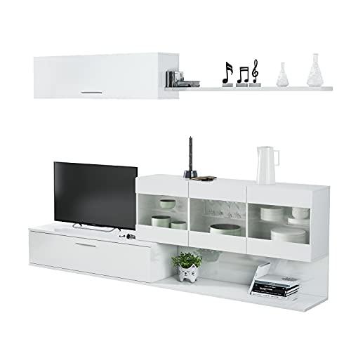 Salon TV, Mueble de Salon, Modulos de Comedor, Modelo Aral, Acabado en Blanco Brillo, Medidas: 260 cm (Ancho)