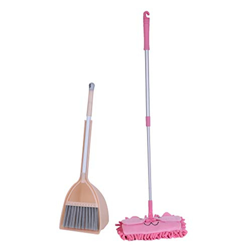 Toxz Kid's Housekeeping Cleaning Tools Set-3pcs, Small Mop Small Broom Small Dustpan,Adjustable Length,Labor-Saving,Suitable for Childs, Fabric