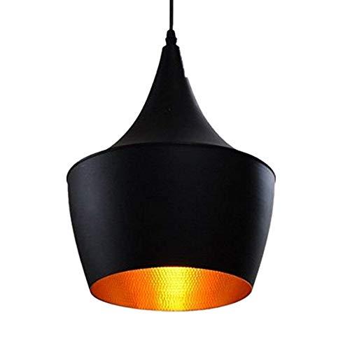 Vintage Lámpara Colgante de Techo E27 Retro del Metal Luminaria Industrial LED Araña Iluminación Luz Interior Aluminio Light Pendiente de la Vendimia, Negro[Clase de eficiencia energética A+]