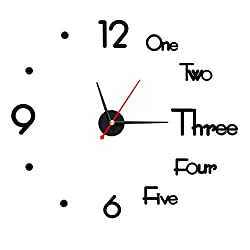WEIJIE 16 Inch DIY Wall Clock 3D Frameless Silent Non Ticking, Black Round Battery Operated Modern Wall Clocks Decor for Living Room Bedroom Office Home and Kitchen