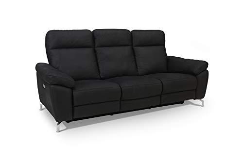 Ibbe Design Schwarz Stoff 3er Sitzer Relaxsofa Couch mit Elektrisch Verstellbar Relaxfunktion Heimkino Sofa Doha mit Fussteil, Federkern, 222x96x101 cm
