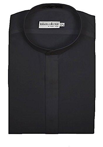 Henry Segal Men's Banded Collar Dress Shirt, Black 2XL 34/35