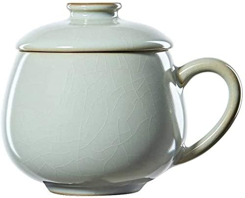 ZSM Taza de café Handcraft Ceramicea Taza Esmalte Cerámica Tazas de té Vintage Tazas de té Vintage Taza Brillante con la Taza de Handletea for la Oficina y el hogar Cyan 17oz Taza YMIK