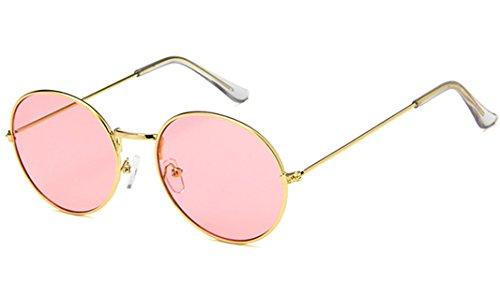 CHICNET Gafas de sol redondas de color dorado y plateado, 400 UV tintadas, para hombre y mujer, estilo hippie retro, vintage rosado