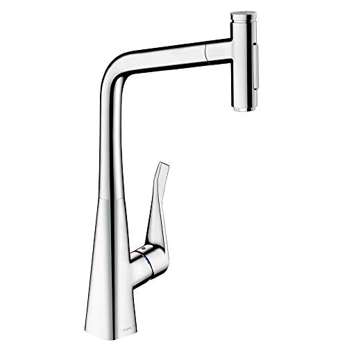 hansgrohe Metris Select Premium 1-Handle 18-inch Tall Kitchen Faucet with Pull Down Sprayer with QuickClean in Chrome, 73820001