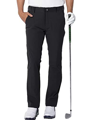 AOLI RAY Herren Golf Hosen wasserdichte Slim fit Stretch Taper Lang Golfhose Golf Pants Schwarz Größe:L