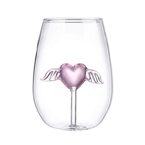 Copa de Vino sin Tallo Joocyee Heart, para vinos tintos y Blancos, Vasos para Exteriores, Divertida, Taza de Amor, Transparente