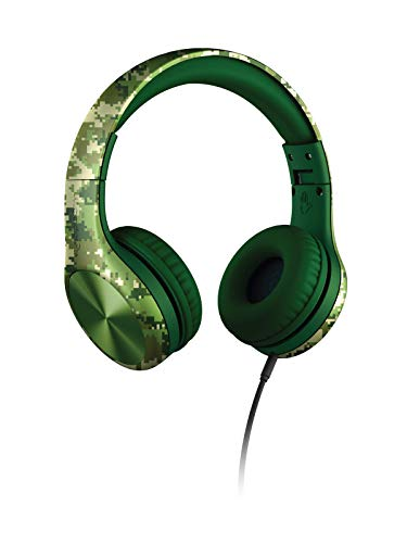 New! LilGadgets Connect+ PRO Kids Premium Volume Limited Wired Headphones with SharePort and Inline Microphone (Children) - Digital Camo