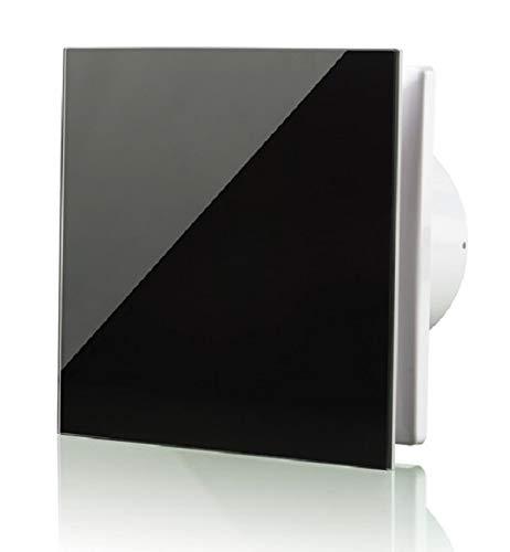 Vlano/A-GLAS 100 BK schwarz Badlüfter 100 mm Echtglas Front/Glasfront Kugellager inkl Rückschlagklappe (100 schwarz Glas Standard)