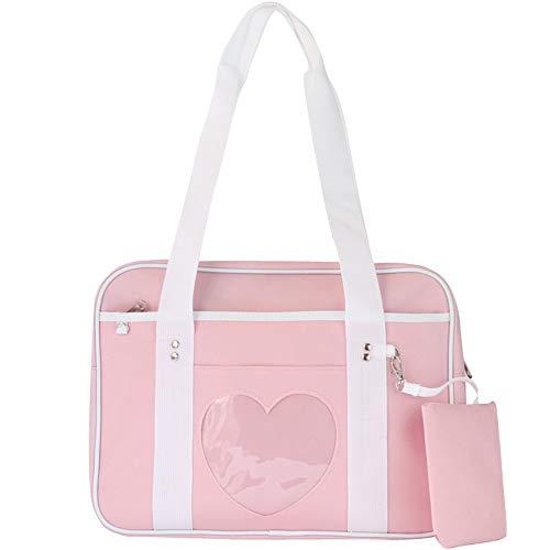 KEEPOP Ita Tasche Herzform Fenster Japanische Schule Handtasche Große JK Tasche Mädchen Duffle Geldbörse Anime Schulranzen für Lolita Comic DIY Cosplay Rosa