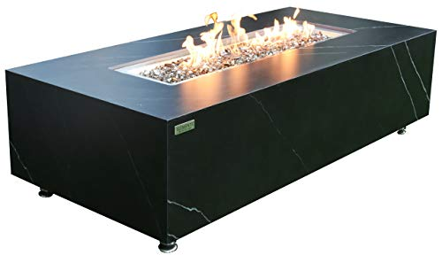 Elementi Liquid Propane Fire Pit Table with Caribbean Blue Firepit Glass - Electronic Ignition 60' Fireplace for Outdoor Use in Backyard, Outside Patio Heater Weather-Resistant - Varna