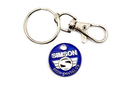 Schlüsselanhänger, Einkaufwagenchip aus Metall mit SIMSON-Logo, beidseitig geprägt - inkl. Ring mit Karabinerhaken