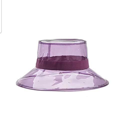 ZKYXZG Sombrero para el Sol Fashion Sun Hat Bucket Hat Caps Women High Street Summer Beach Hat PVC Transparent Sun Visor Waterproof Rain Hat For Men Ladies,1,56,58cm
