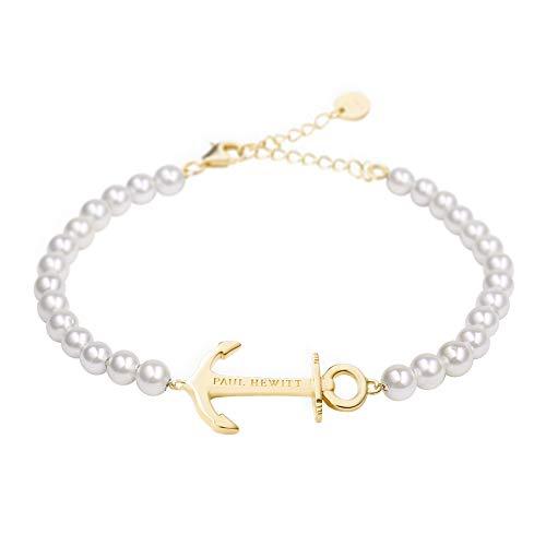PAUL HEWITT Perlenarmband Damen Anchor Spirit - Armkette Damen mit Anker Schmuck aus Edelstahl (Gold)