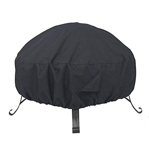HAILAN Fire Pit Cover Round, Waterproof Heavy Duty Round Patio Fire Bowl Cover for Landmann Big Sky Fire Pit Stone Covers Dust Cover with Drawstring and Storage Bag- Black 122x46cm