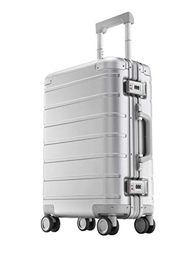 """Xiaomi Metal Carry-on Luggage 20"""" Trolley Rigido con 8 Ruote, 55 cm, Dimensioni Standard per Cabina Aereo, Lucchetto TSA, 31 litri, Argento"""