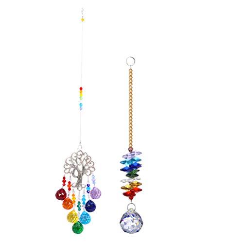 YARNOW 2Pcs Bunte Kristalle Glasanhänger Bunter Lebensbaumanhänger Kristallkugeln Hängen Anhänger für Haus Garten Bürodekor