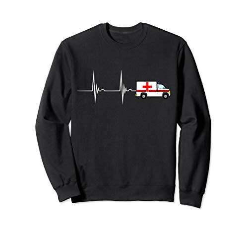 Krankenwagen Fahrer Rettungswagen Herzschlag EKG Pulsschlag Sweatshirt