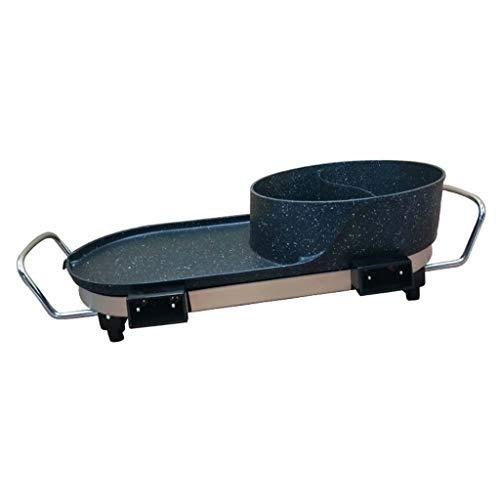 SJZD Haushalts 220V 1800W Multifunktions-Rauchfreier Grill Hot Pot Bratpfanne 3-in-1-integrierter topfsicherer rauchfreier Antihaft-Grill mit 5 Temperatureinstellungen