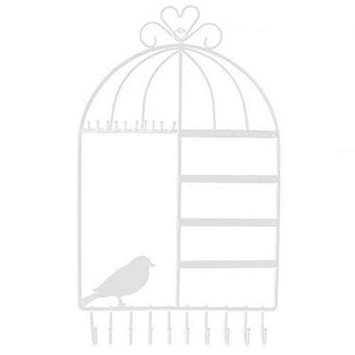 jwj Estante de joyería con soporte de metal montado en la pared de ho Bird Soporte de joyería de metal para pendientes, collares y pulseras (color: blanco)