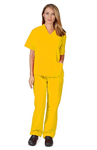 Women's Scrub Set - Medical Scrub Top and Pant, Yellow, X-Small