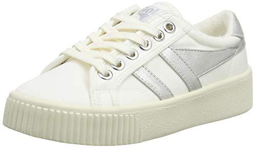 Gola Damen Baseline Mark Cox Sneaker, Silberfarbenes Weiß, 39 EU