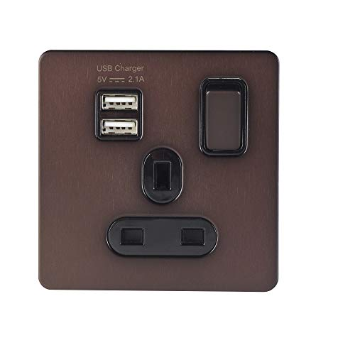 Schneider Electric Ultimate Placa plana sin tornillos – Enchufe de alimentación individual, solo poste, con puertos de carga USB, 13A, GGBGU34102USBABDBP, bronce oscuro con inserto negro