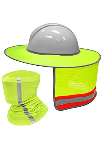 XIAKE Hard Hat Sun Shield Neck Gaiter Face Cover Set Anti-UV Hard Hat Accessories, Yellow