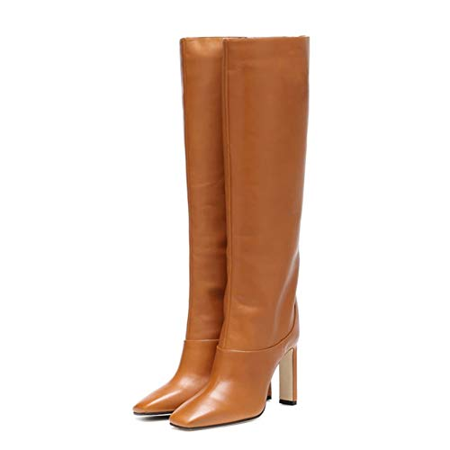 Botas hasta la Rodilla para Mujer, Elegantes Botas de Cuero PU con Punta Cuadrada, Botas largas de Otoño Invierno para Trabajo de Oficina de Color sólido (Ropa)