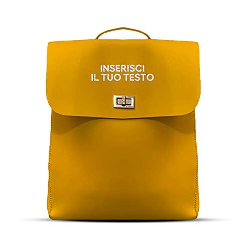 Timeshop Lab Zaino Sunshine giallo per donna personalizzabile chiusura con clip modello cartella per lavoro università palestra 15 litri in pelle sintetica personalizzato con nome iniziali ricamate