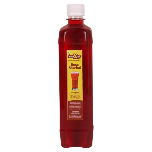 SNAXUP INSTANT ROSE SHARBAT | Real Rose Flavor | Refreshing and Cooling | Ideal Summer Drink | Tastes best when mixed in Milk, Water or Soda | NO NEED TO ADD SUGAR | 500 ml (Pack of 1)