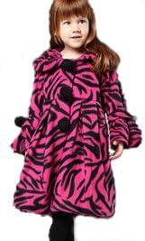 Girls Fuchsia Zebra Print Coat