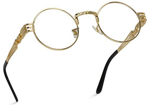 WearMe Pro - Metal Steampunk Frame Retro Round Clear Lens Glasses