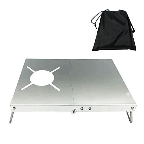 MOVKZACV Mesa de camping portátil, mesa plegable de acero inoxidable para quemadores, ligera y compacta, mesa auxiliar versátil para exteriores, picnic, campamento, playa, barco, comedor, cocina